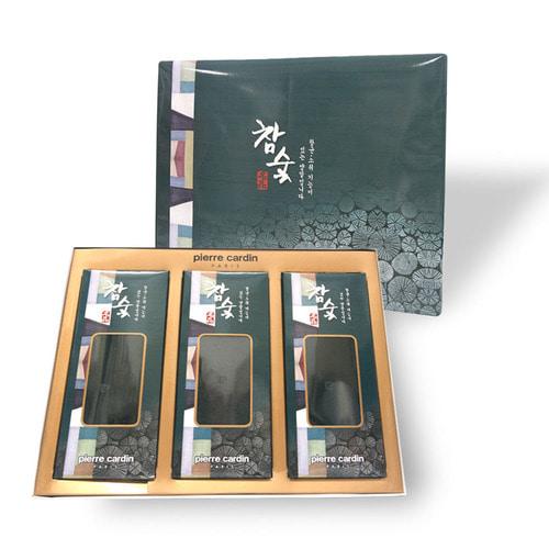 피에르가르뎅 황토/참숯 신사 정장양말 3족 선물세트(고급포장)