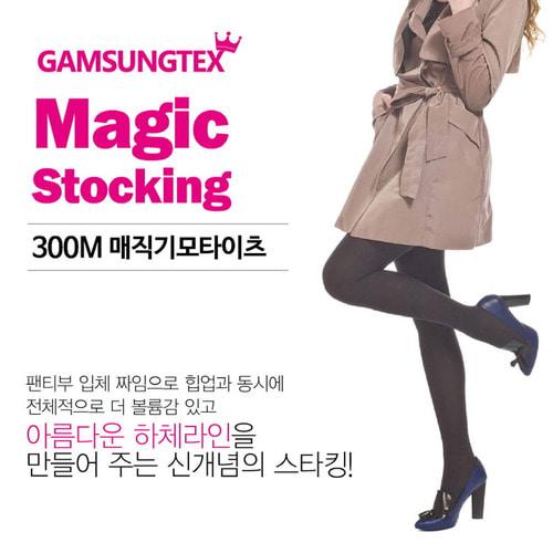 300D 매직 기모 타이즈 스타킹 블랙 유발